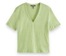 Leinen T-Shirt mit V-Ausschnitt