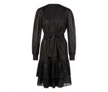 Kleid mit Falten und Volants und All-Over Glitzer Druck