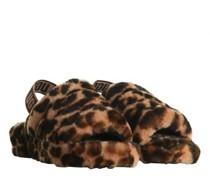Sandaletten aus Lammfell mit Animal-Muster