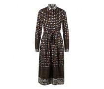 Kleid mit Faltenrock und grafischem All-Over Druck