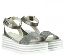 Sandaletten in Metallic-Optik