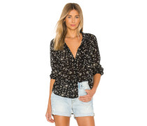 Rounded Hem Pocket Buttondown Top