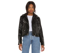 Leather With Sequin Hoodie Jacke