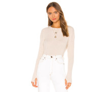 Cashmere Blend Thermal Loose Cropped Longsleeve Top
