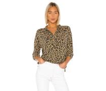 Brushed Leopard Zip Halsbänder Pullover