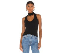Rib Sleeveless Cutout Neck Tank