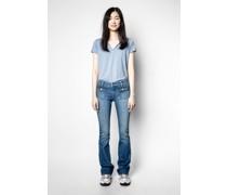 Henley-ausschnitt T-shirt Amour Jormi Strass