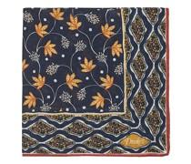 Printed Woll/Silk Indian Flowers Einstecktuch Navy