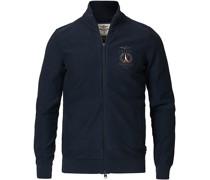 Garment Dyed Full Zip Pullover Blue Navy