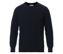 Stricked Woll/Cashmere Raglan Rundhals Dark Navy