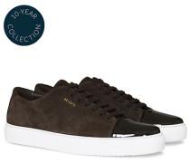 High Shine Toe Cap Sneaker Brown Suede