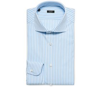 Slim Fit Striped Popline Hemd Light Blue