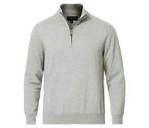 Baumwoll Half Zip Pullover Heather Grey