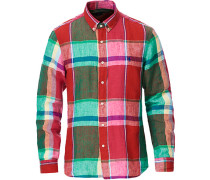 Slim Fit Madras Karohemd Red/Green Multi