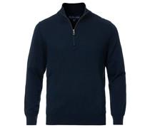 Baumwoll Half Zip Pullover Navy