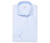 Slimline Glenchecked Cut Away Hemd Light Blue
