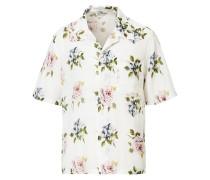 Oversize Flower Kurzarm Hemd White