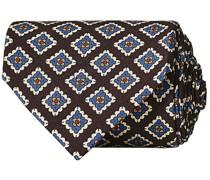 Printed Silk Popeline Medallion 8 cm Krawatte Brown