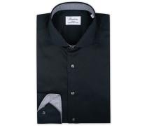 Slimline Contrast Hemd Black