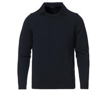 Virgin Merino Wollstrickted Polo Navy