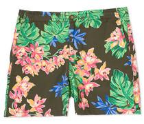 Prepster Printed Flower Shorts Olive