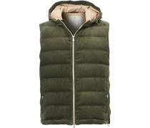 Corduroy Hooded Weste Sage Green
