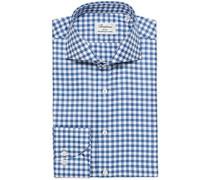 Slimline Gingham Cut Away Hemd Blue