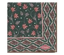 Printed Woll/Silk Indian Flowers Einstecktuch Green