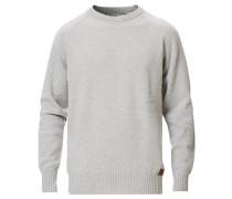 Stricked Woll/Cashmere Raglan Rundhals Silver Grey