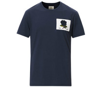 Rose Embroidered Tshirt Navy