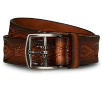 Embossed Leder 3,5 cm Gürtel Brown