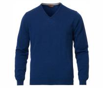 Merino V- Neck Pullover Jeans Blue