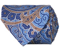 Silk Oxford 8 cm Paisley Printed Krawatte Navy