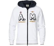 Full Zip Hooded Logo Sweat Off White