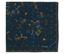 Printed Woll/Silk Mughal Rider Einstecktuch Blue