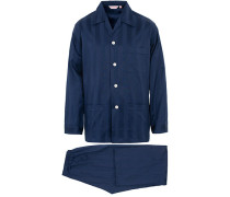 Striped Baumwoll Satin Pyjamaset Navy