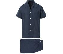 Shortie Polka Dot Baumwoll Pyjamaset Navy