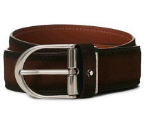 Horseshoe Buckle Gürtel 35mm Light Brown Suede