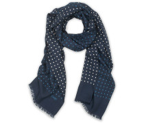 Woll/Silk Classic Spot Halstuch / Schal Navy/White/Blue