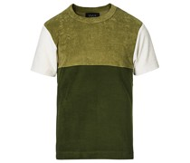 Color Block Baumwoll Blend Tshirt Olive