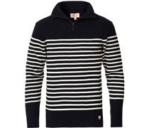Heritage gestreift Half Zip Pullover Navy/Nature