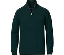 Shetland Half-Zip Tartan Green