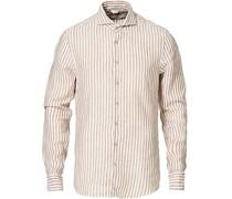 Slimline Striped Leinen Cut Away Hemd Light Brown
