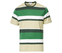 Striped Rundhals Baumwoll Tshirt Green