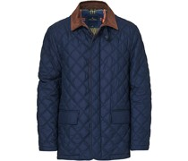 Quilted Cord Collar Jacke Navy