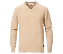 Stricked Woll/Cashmere V-Neck Natural