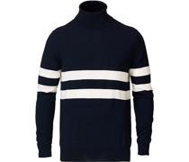 Chest Striped Rollkragenpullover Navy