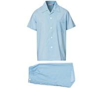 Shortie Printed Baumwoll Pyjamaset Blue