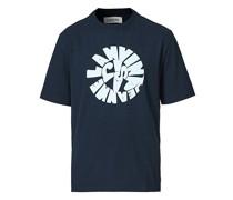 Printed Kurzarm Tshirt Navy