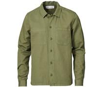 Ruffo Baumwoll/Leinen Überhemd Deep Lichen Green